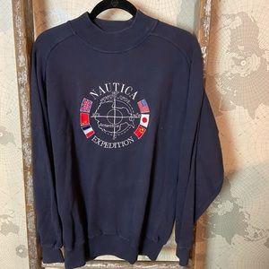 90's Nautica Mock neck Expedition sweatshirt L